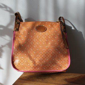 Fossil Orange and Pink Crossbody Bag